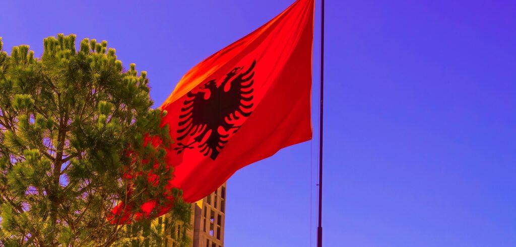 Albanian flag in Tirana, Albania